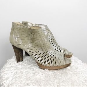Paul Green Metallic Laser Cut Peep Toe Heels